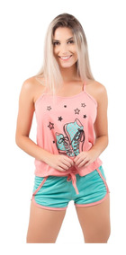Kit 5 Pijama Adulto Curto Short Doll Feminino Blusa Regata