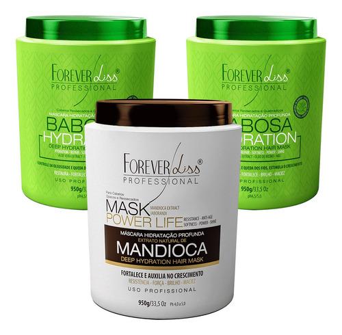 Kit Forever Liss Mascaras De Mandioca E 2 Babosa Tratamento