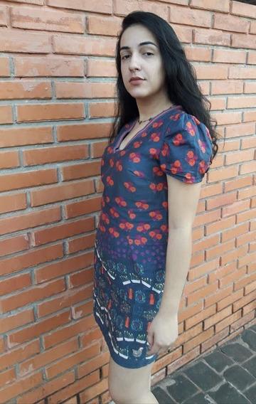 Vestido Antix Estampa Galinhas Tamanho M