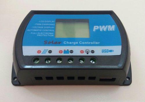 Controlador De Carga 20a 12v/24v P. Solar Pwm Com Usb C/ Nf