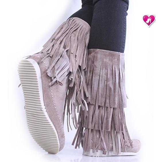 Bota Botineta Con Flecos Cuero Modelo Zumba De Shoes Bayres