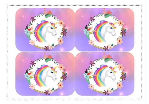 Kit 12 Adesivos Unicornio Para Lembrancinha Marmitinha 240ml