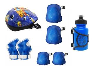 Kit Proteção Infantil Capacete Bike Patins Garrafinha Brinde