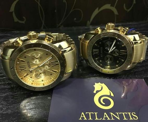 Relógio Atlântis Dourado 6 Meses De Garantia