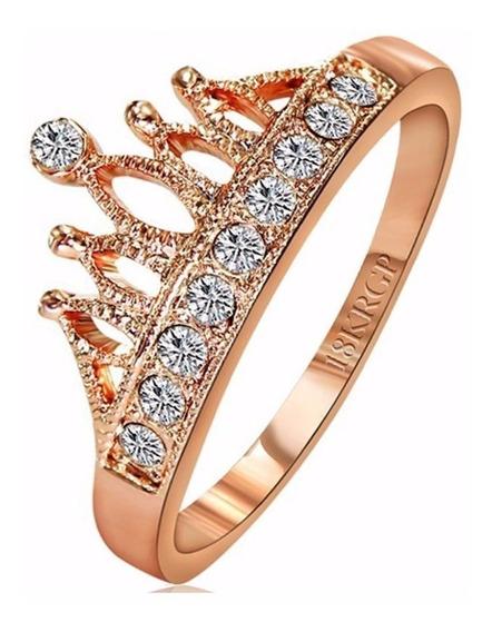 Anel Feminino Formato Coroa Com Zircônias Banhado Ouro 18k