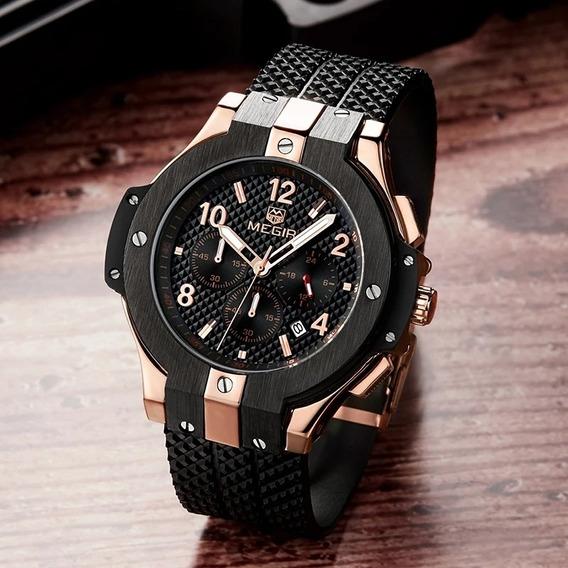 Relógio Masculino Megir Estilo Hublot Big Bang Original Luxo