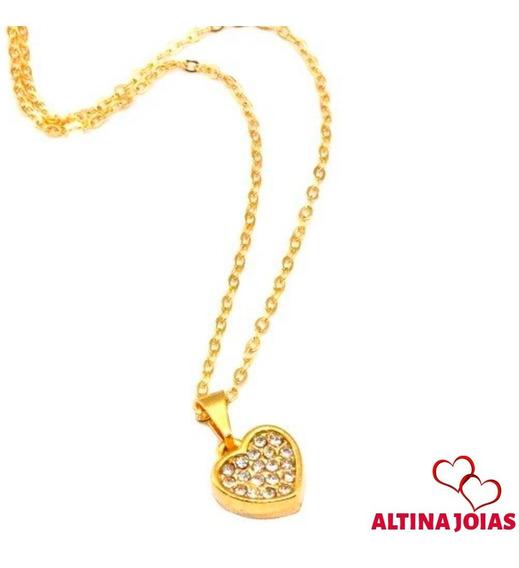 5 X Colar Coração Com Strass Folheado A Ouro