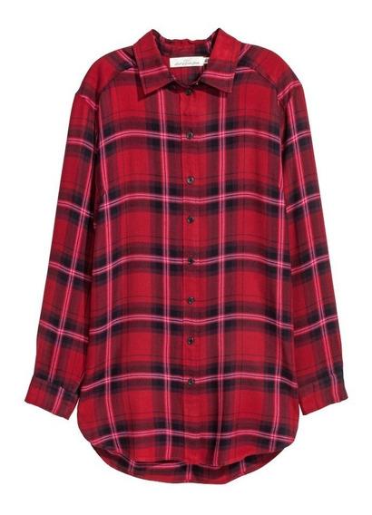 Camisa Vestido H&m Cuadros-viscosa-original Usa