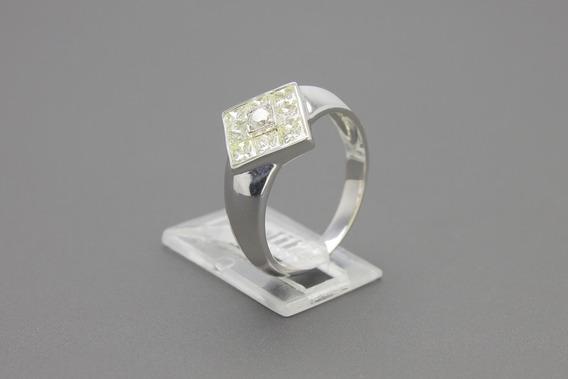  449  Anel Em Ouro Branco 18k Com Diamantes