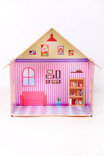Casa De Muñecas Infantil Madera Socumini + Muebles Niña Niño