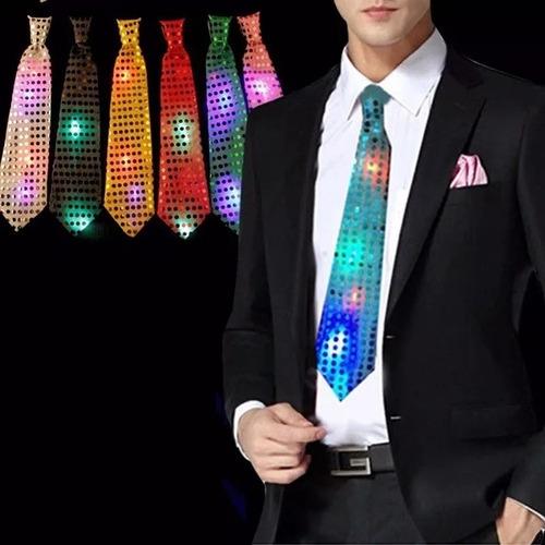 10 Corbatas Luminosas Lentejuelas Con Luces Led Cotillón