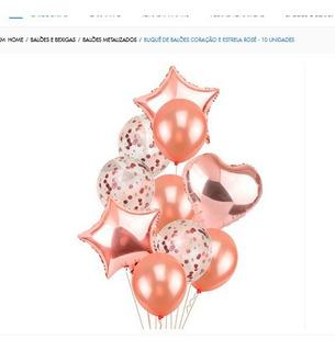 10 Balão Metalizado Estrela Coração Látex Confete Buque