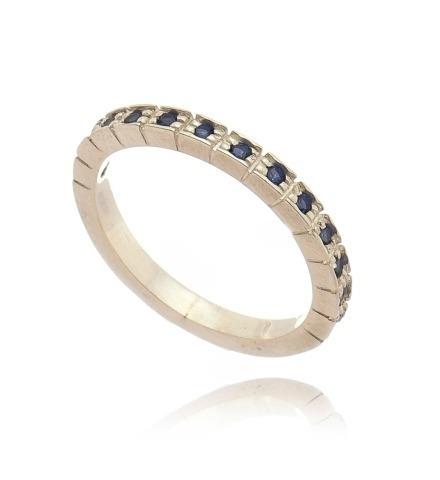 Meia Aliança Na Prata 950 Feminino Delicado 12 Pedras