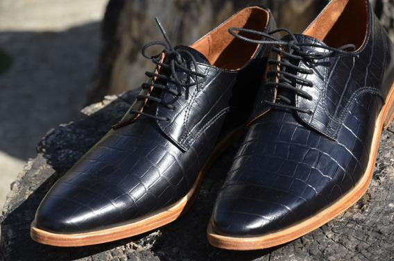 Zapato Hombre Moda 100 % De Cuero Grbado Negro