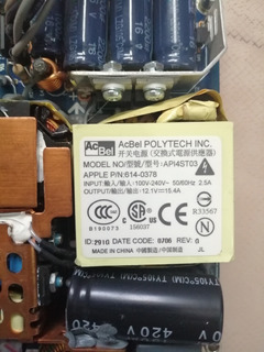 Apple iMac Power Supply 20 A1145/2.1ghz 614-0378/api4st03