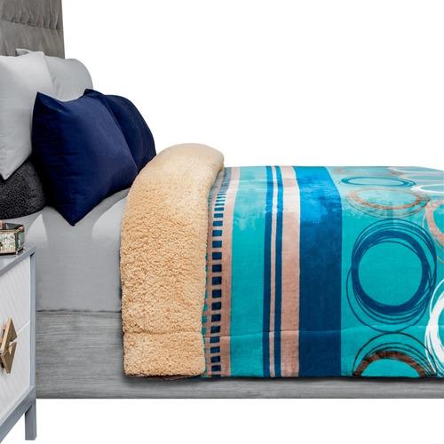 Cobertor Con Borrega Matrimonial Premium. Excelente Calidad