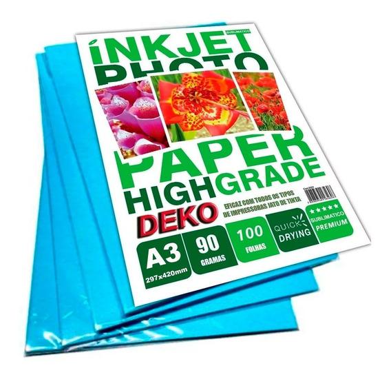 100 Folhas Papel Tratado Sublimatico A3 297x420mm Com 90g Branco Com Funco Azul Para Sublimação Em Geral Linha Premium