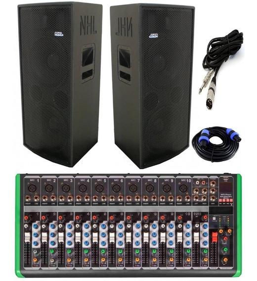 Mesa Som 12 Ch Xlr Usb Pro Caixa Amplificada Ativa Nhl 1800w