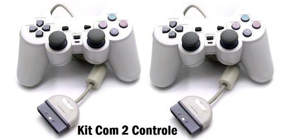Kit 2 Controle Playstation 1 Playstation Com Analógico Novo