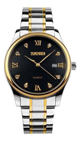 Skmei 9101 Relógio Homens Mulheres Marca Quartzo Aço Inoxi