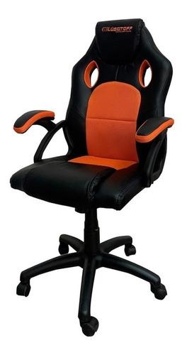 Imagen 1 de 2 de Silla de escritorio Lusqtoff SGL100-9 gamer ergonómica  negra y naranja con tapizado de cuero sintético