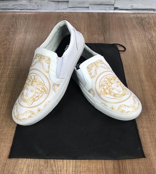 Sapatenis Masculino Versace Branco E Dourado - Frete Grátis