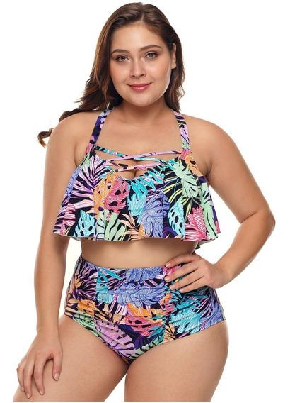 Bikini Talla Extra Estampado Top Con Vuelo 410750