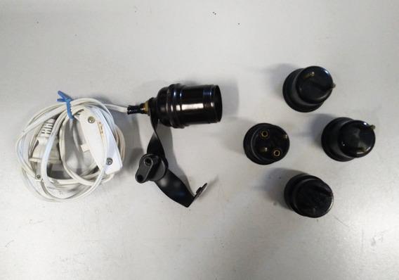 Suporte Lâmpada Soquete E27 P/ Tripés + 4 Soquete 2 Pinos