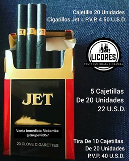 Cigarrillo Jet Indonesia Cajetilla D Tabacos Jet 20 Unidades