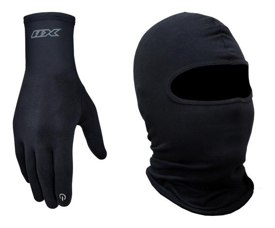 Luva X11 Thermic + Touca Ninja Balaclava - Luva Segunda Pele Touchscreen Motociclista Moto Motoqueiro Bicicleta Ciclista