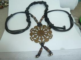 Colar Talismã Pingente Medalhão Bronze Cordão 70cm Preto