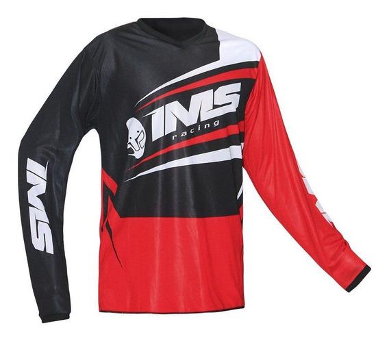 Camisa Ventilada Ims Flex Vermelha/preta Acabamento Na Barra