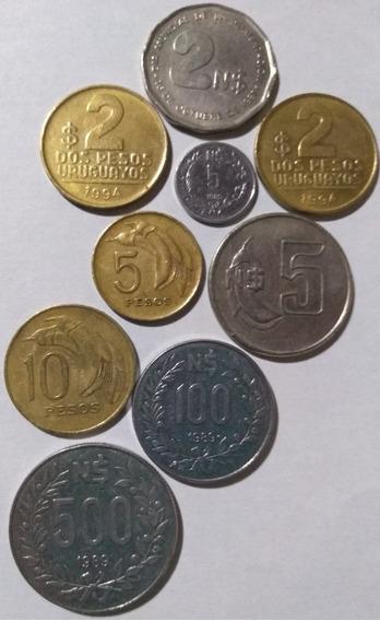Lote 9 Monedas Uruguay 1968/1981/1989 Y 1994 Pesos Y N$