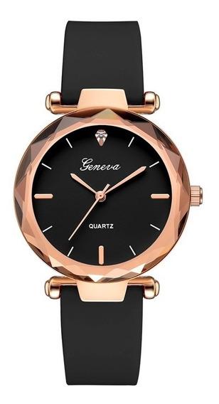 2 Relógios De Pulso Feminino Geneva Pulseiras Silicone Lindo