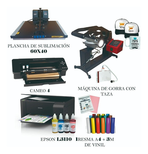 Plancha 60x40, Cameo 4, Maquina Gorras Y Tazas, Impresora...