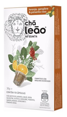 Chá Leão Capsula - Laranja, Gengibre E Pimenta Rosa 10 Unid.