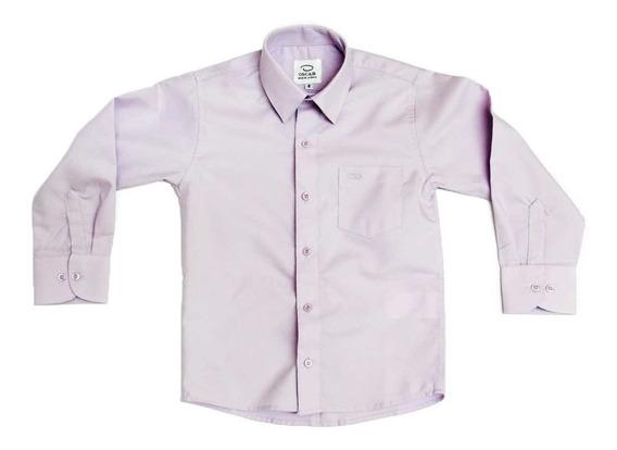 Camisa Manga Larga Vestir Oscar Lila Tirantes Y Moño #4 A 20