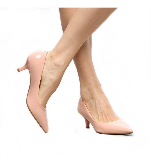 Sapato Scarpin Salto Médio Baixo Executivo Fashion Casual