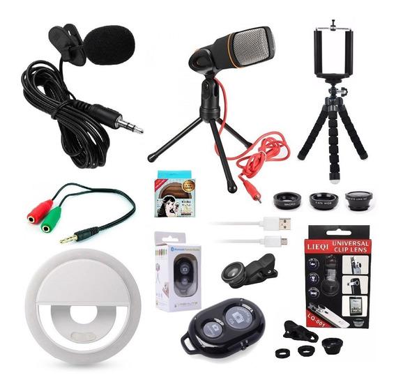 Kit Youtuber Lapela Microfone Mesa Pc Celular iPhone Android