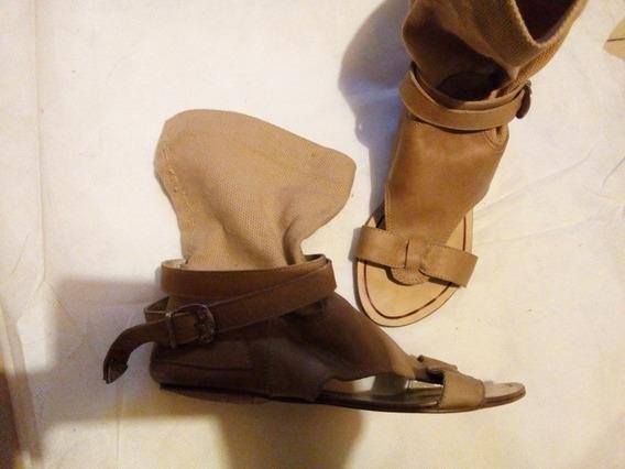 Calzado Sandalia Tipo Bota Abierta Al Frente Artesanal Cuero