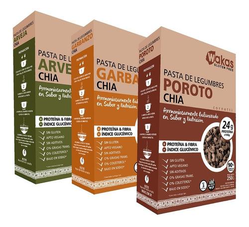 Pack 3 Pastas Proteicas Wakas - Legumbres Y Chía Sin Tacc