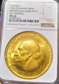 Moeda De Bronze Alemanha Westphalia 1923 10000 Mark Ngc Ms66