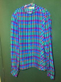 Camisa Vintage Em Seda Pura Anos 80