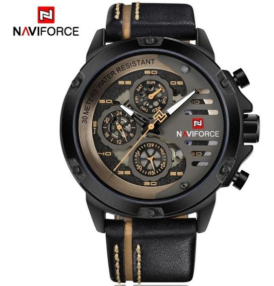 Relógio Masculino Naviforce Modelo 9110 Pulseira De Couro