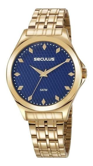 Relógio Seculus Feminino Ref: 23632lpsvds1 Casual Dourado