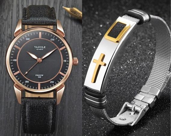 Kit Relógio Masculino Yazole Couro + Pulseira Em Aço Inox