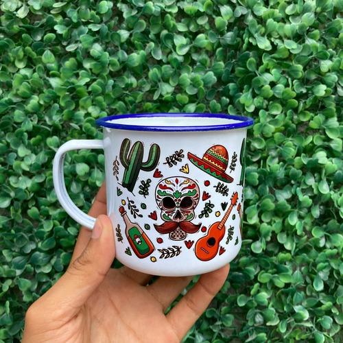 Imagen 1 de 4 de Taza Peltre Diseño Mexicano S4 - Viva México Mes Patrio