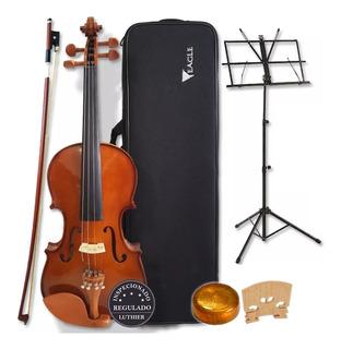 Kit Violino 4/4 Ve441 Eagle Case Arco Breu Estante Partitura