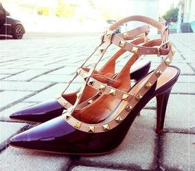 2b0fa0299 Sapato Scarpin Preto Spike Dourado Frete Grátis Feminino - Sapatos ...