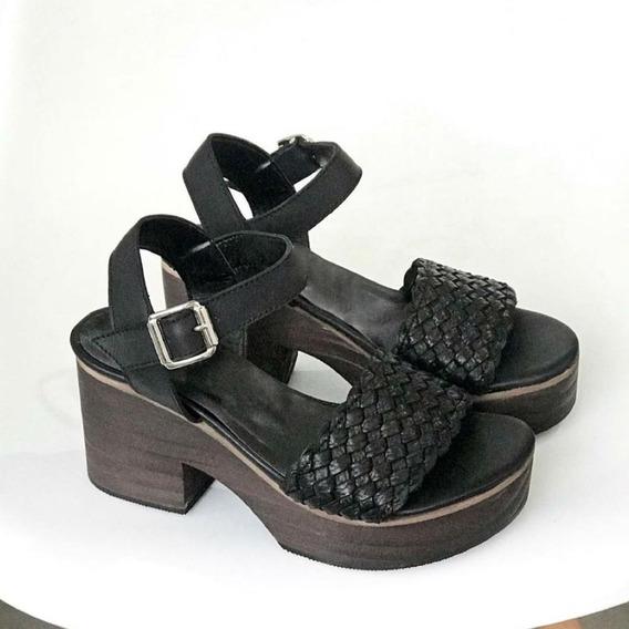 Zapato Mujer Sandalia Madera Cuero Trenzado #56